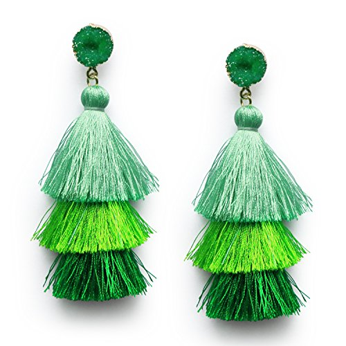 Green Tassel Earrings for Women Girls Dangle Drop 3 Tier Tassel Fringe Earrings Druzy Stone Studs Christmas Tree Earrings Saint Patrick Gifts -