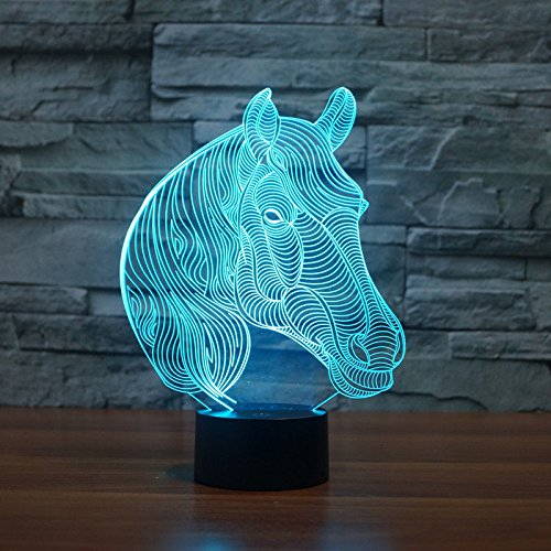 Comics+3D+Night+Lamp+ Products : Horse 3D Night Light Led Acrylic Table Lamp Touch Swithch 7-Color Xmas Gift