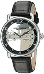 Stuhrling Original Men's 976.01 Bridge Stainless Steel Mechanical Hand-Wind Watch With Black Leather Band