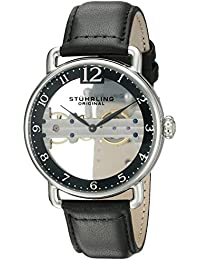 Men's 976.01 Bridge Stainless Steel Mechanical Hand-Wind Watch With Black Leather Band