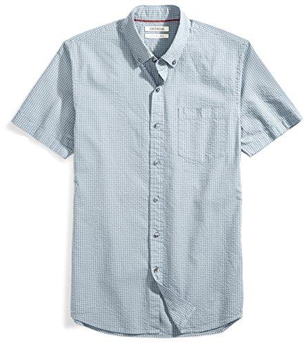 Goodthreads Men's Slim-Fit Short-Sleeve Seersucker Shirt, Grey/Dark Grey Check, Small ()