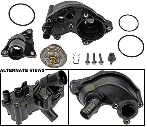 APDTY 013971 Thermostat Kit w/ Upper & Lower Water Outlet Housing & All O-ring Seal Gaskets For 2002-2010 Ford Explorer / 2002-2010 Mercury Mountaineer 4.0L (Complete Fix For The Common Leaking Thermostat Housing)