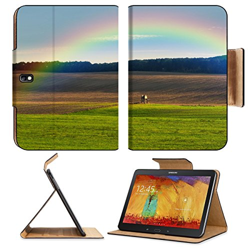 Samsung Galaxy Tab Pro 10.1 Tablet Flip Case Hunters ambush on the field over the rainbow IMAGE 35240354 by MSD Customized Premium Deluxe Pu Leather generation Accessories HD Wifi Luxury Protector (Luxury Box Ladder)