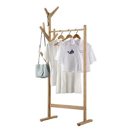 LANGRIA Perchero Burro de Bambú Colgador de Ropa de 8-Ganchos Tipo Árbol con Pies Ajustables para Chaquetas Abrigos largos Vestidos Paraguas Sombreros ...