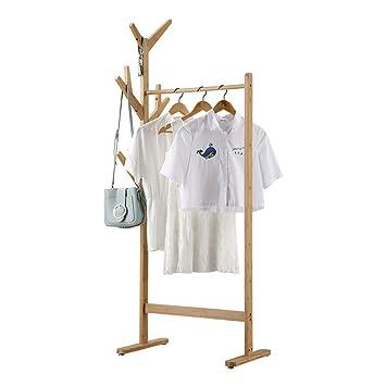 LANGRIA Portant Penderie à Vêtements En Bambou Avec PorteManteau - Portant vetement design