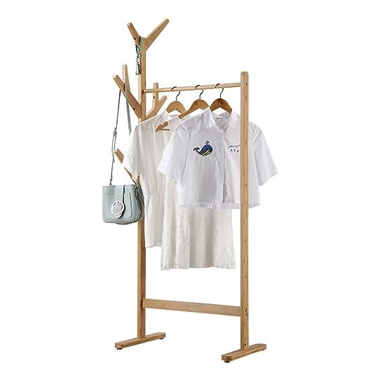 Langria Portant Penderie À Vêtements En Bambou Avec Porte-Manteau