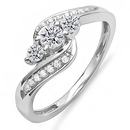 Dazzlingrock Collection 0.50 Carat (ctw) 10k Round Diamond Ladies Swirl Engagement 3 Stone Bridal Ring 1/2 CT, White Gold, Size 6 ()