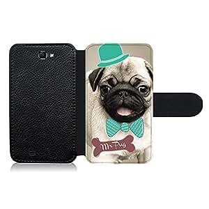 Funda carcasa de cuero para Samsung Galaxy Note 2 diseño dibujo perro mr pug carlino con pajarita y sombrero