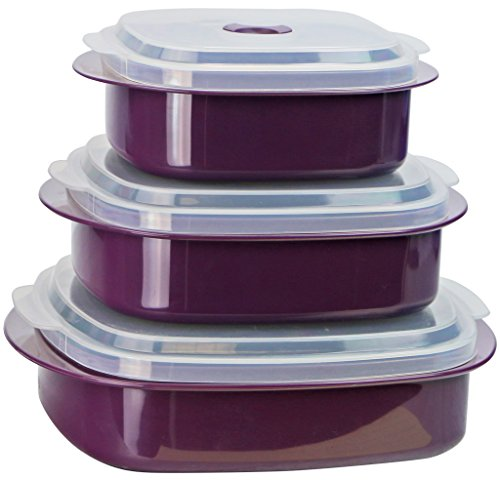 Calypso Basics by Reston Lloyd 6-Piece Microwave Cookware, Steamer and Storage Set, Plum