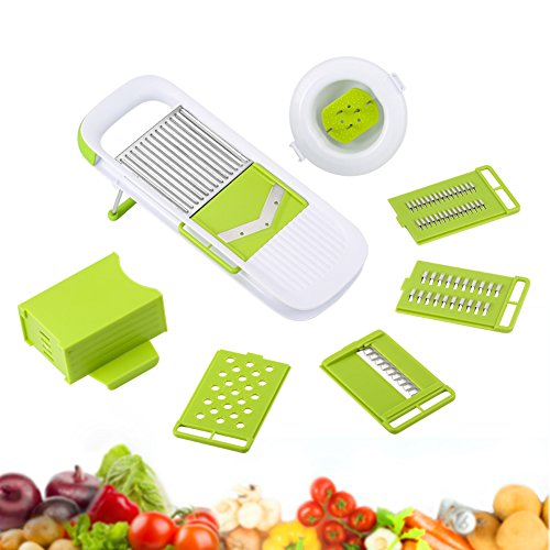 ROKOO Mandoline Slicer 5 In 1 Kitchen Tools Gadget Set Combined - 5 Thickness Grade Stainless Steel Blades - Vegetable Fruit Cheese Potato Onion Julienne Cutter Peeler Grater