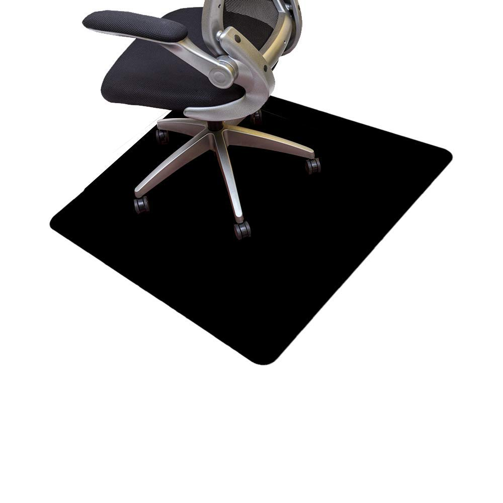 Resilia Office Desk Chair Mat – PVC Mat for Hard Floor Protection, Black, 44 Inches x 44 Inches, Made in The USA