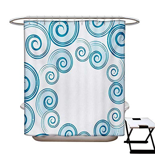 Teal and White Shower Curtain Collection by Ocean Waves Inspired Design with Abstract Blue Swirls Water Sea Spirals Patterned Shower Curtain W36 x L72 Blue White