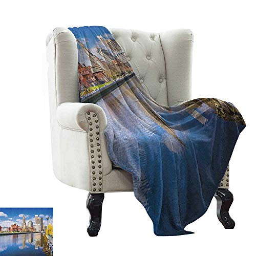 Weighted Blanket for Kids United States,Providence Rhode Island Riverfront Spring Season Water Reflection Buildings, Multicolor All Season Light Weight Living Room/Bedroom 60
