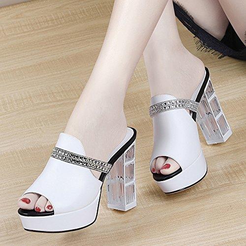 Heel Mouth EU35 Women's CN34 Shoes Bohemia White Rhinestone UK3 Slippers Color Toe Open ZHIRONG Thick Fish Size Waterproof 10CM Sandals Summer Bottom Beach White Platform High SxCInwW5