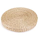 KINGSO Handcrafted Straw Round Pouf Tatami Cushion Floor Cushions Natural Straw Meditation Yoga Mat Chair Seat Cushion (42x6cm)