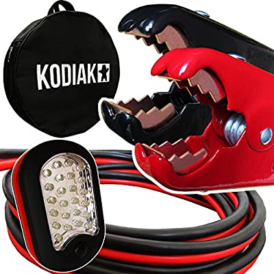 Kodiak Auto Heavy Duty 1 Gauge x 25 Ft Jumper Cables with Bag [Bonus Magnetic LED Flashlight] - Boost from Behind Another Vehicle - 800 Amp Battery Booster Cable for Car & Truck (1 AWG x 25 Feet )