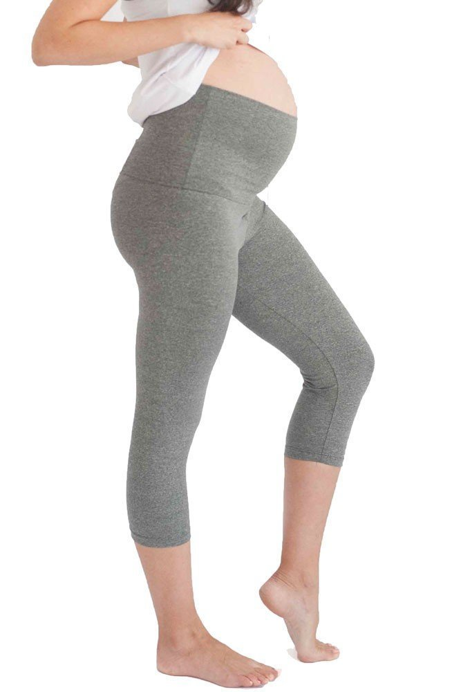 Belabumbum Women's Maternity Cropped and After Workout Capri Legging, Grey, Small/Medium