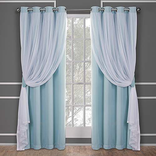 Exclusive Home Curtains Catarina Layered Solid Blackout and Sheer Window Curtain Panel Pair with Grommet Top, 52x96, Aqua, 2 Piece