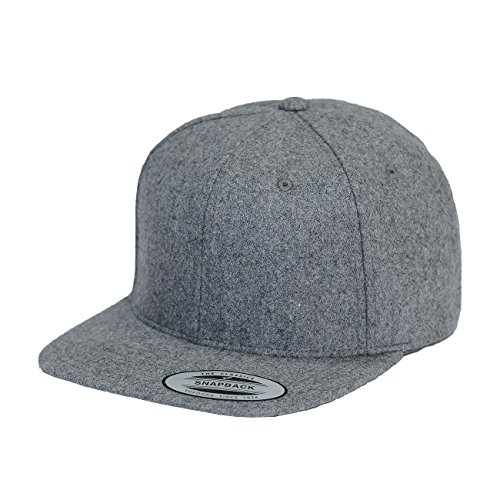 (Yupoong Melton Wool Snapback Cap 6689M by Flexfit (Heather Grey))