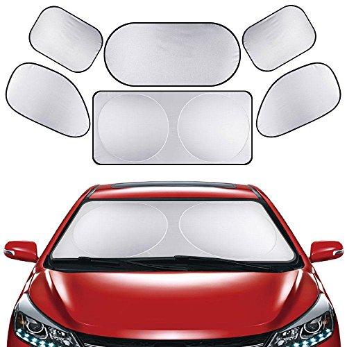 Iycorish 6 Pcs Set Car Window Windscreen Shield Sun Shade Side Back Visor Cover Silver