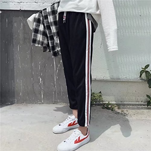 Eight Unique Fashion Casual Pants Boys Spring Summer Monsoon Easing Student Nine Points Trousers (Single Rod red bar