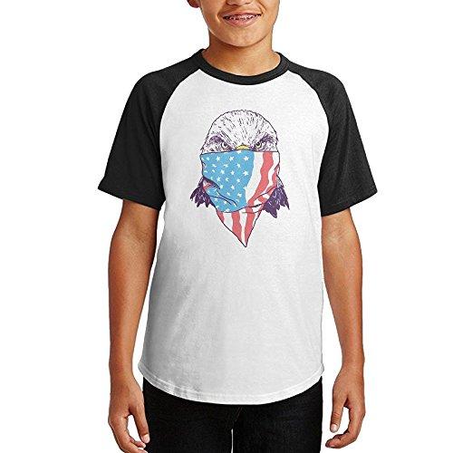 Bald Eagle Flag Face Unisex Youth Teenager Raglan Tshirts Black (Paul Pierce Youth Jersey)