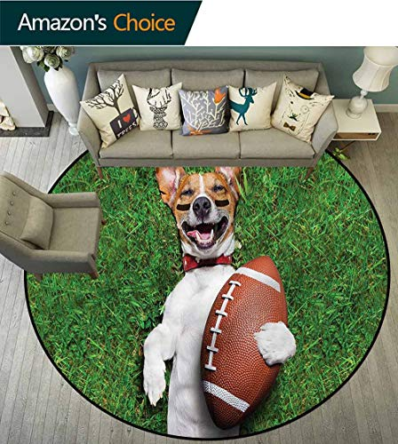 (RUGSMAT Sports Traditional Round Area Rug Design,Dog Holding A Rugby Ball Study Computer Chair Cushion Base Mat Round Carpet Diameter-47)