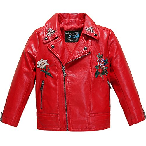 447125c56 Budermmy Girls Embroidered floral Faux Leather Motorcycle Moto Biker ...