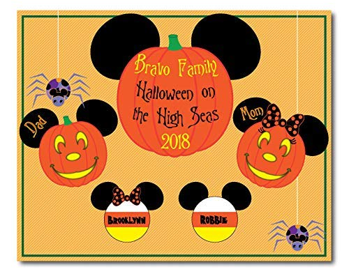 8 x 10 MAGNET SIGN Halloween Pumpkin and Candy Corn Family Mouse Head Family Magnet for Disney Cruise - IMAGES ARE NOT MEANT TO BE CUT OUT -