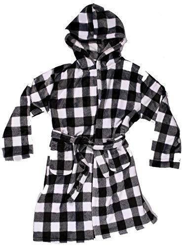 Just Love Plush Velour Buffalo Plaid Robes for Girls 75606-10195-WHT-14-16