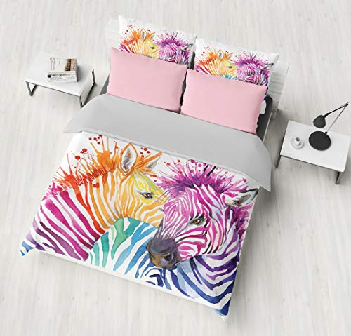 SHOMPE Bedding Set Watercolor Zebra Couple,3 Piece for sale  Delivered anywhere in USA