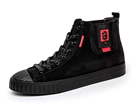 GLSHI Sneakers alte da uomo Nuove scarpe casual in pelle moda inglese  Scarpe da ginnastica autunnali 245f1995d9e