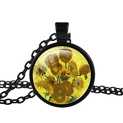 Van Gogh Painting Costume (FM42 Black-tone Sunflowers by Vincent Van Gogh Round Pendant Necklace TN2251)