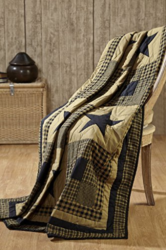 VHC Brands Shiloh Star Quilt Primitive Country Patchwork Black Tan Quilted Throw ()