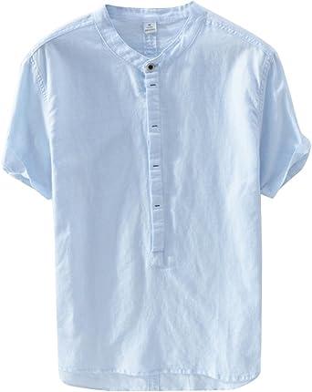 Hombre Casual Camisa De Lino Sin Cuello De Color Sólido Manga ...