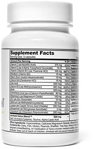 Drinkwel for Hangovers, Nutrient Replenishment & Liver Support (30 Vegetarian Capsules with Organic Milk Thistle, N-acetyl Cysteine, Alpha Lipoic Acid, and DHM) (Travel Size Bottle) by drinkwel (Image #2)