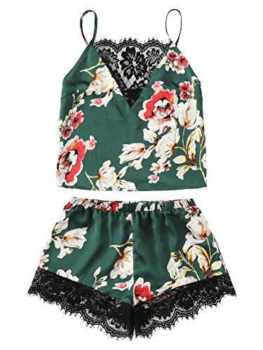 (DIDK Women's Lace Trim Satin Cami and Shorts Pajama Set Green M)