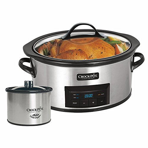 NEW! CrockPot 6 Quart Stainless Slow Cooker with Little Dipper Food Warmer (Recipes Included), Silver/Black Finish (Outlet Timer For Crock Pot compare prices)
