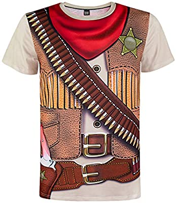 Funny World Men's Western Cowboy Costume T-Shirts