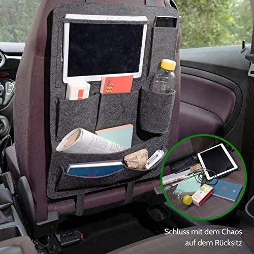 Autositztasche mit 6 Taschen f/ür B/ücher f/ür Kinder geeignet Hochwertiger Auto-R/ückenlehnenschutz aus Filz mit Tablet-Fach inkl Schutzfolie Smartphone etc Auto-Organizer mit Getr/änkehalter