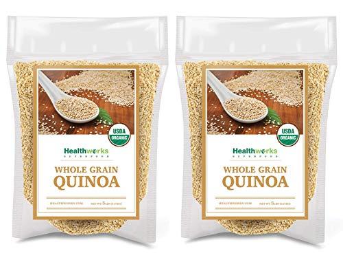 Healthworks Quinoa White Whole Grain Raw Organic (160 Ounces / 10 Pounds) (2 x 5 Pound Bags) | Protein, Fiber & Iron | Peruvian Origin | Rice & Pasta Substitute