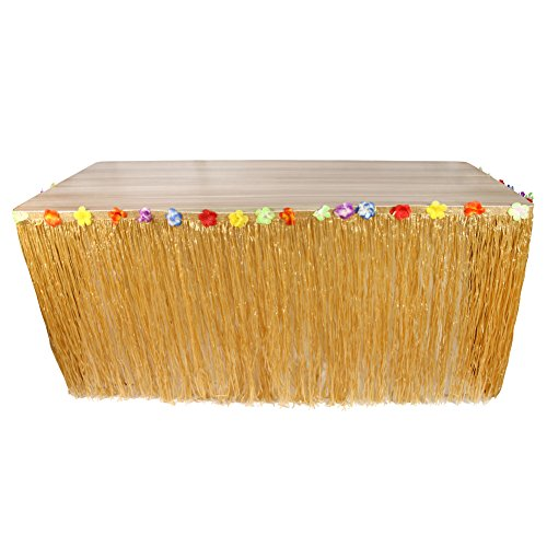Straw Skirt (DrCosy Hawaiian Luau Table Skirts, Artificial Grass Tablecover with Tropical Hibiscus Flowers for Baby Shower Party Carnival)