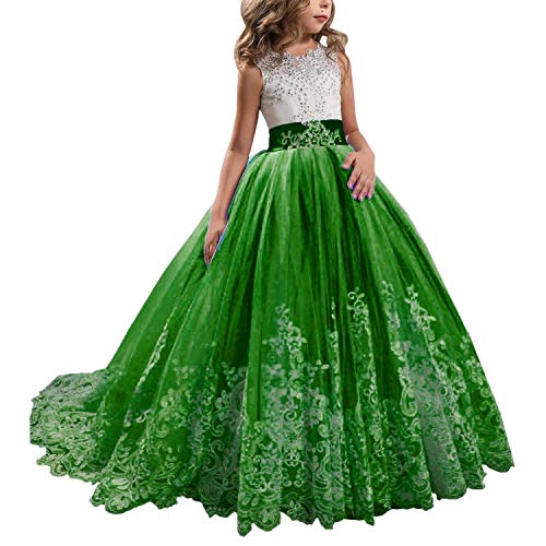 KSDN Wedding Flower Girls Dresses Princess Gowns First Communion Pageant Gowns(US 12 Green)