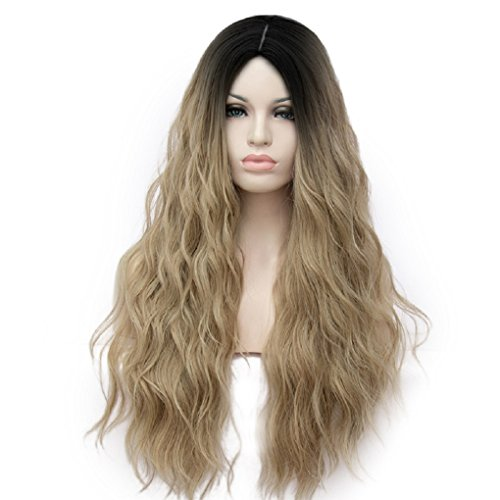 Max beauty Cosplay Wig Long Curly Wave Ombre Women Dye Multi-color Dark Roots Wigs Hair Free Cap (Light Brown RF1) -