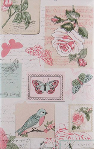 Roses, Birds and Butterflies Stamps, Postcards and Letters Vinyl Flannel Back Tablecloth (60