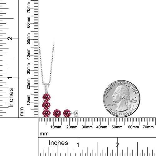 2.54 Ct Pink Tourmaline White Diamond 925 Sterling Silver Pendant Earrings Set by Gem Stone King (Image #1)