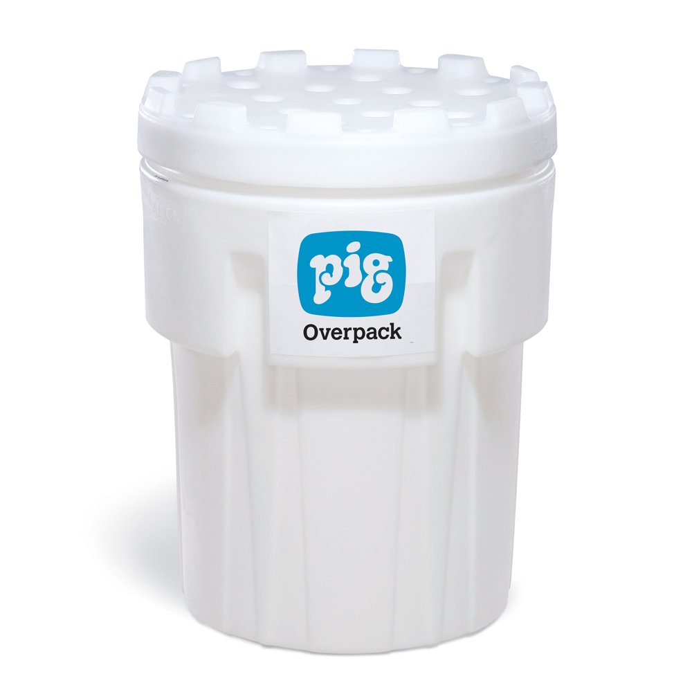 New Pig PAK725 UV-Protected Polyethylene Overpack Salvage Drum, 95 Gallon Capacity, 31.38'' Diameter x 41-1/2'' Height x 1/4'' Thick, White