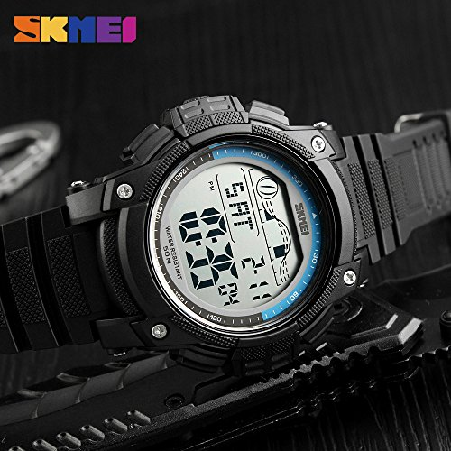 Black Orange Watch Men Watch Sports Outdoor Waterproof Digital Wristwatch Chrono Double Time LED Display Watch Alarm Clock Relogio ()
