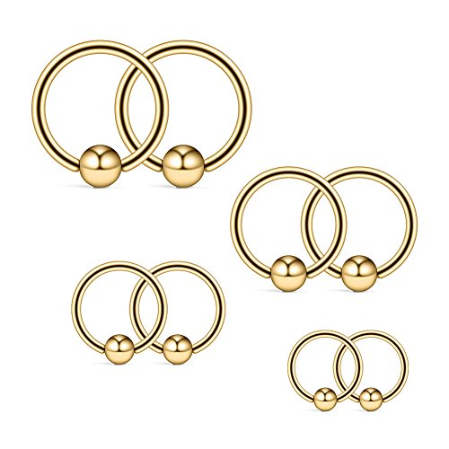 Ruifan 14G 316L Surgical Steel Captive Bead Ring PA Nipple Eyebrow Belly Tragus Cartilage Septum Piercing Jewelry 8PCS - Gold