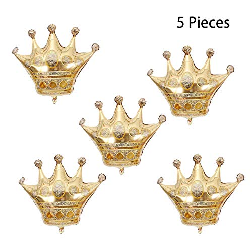 Hapy Shop 5 Pcs Golden Crown Balloons Foil Balloon for Birthday Wedding Birthday Party Decorations,26 * -